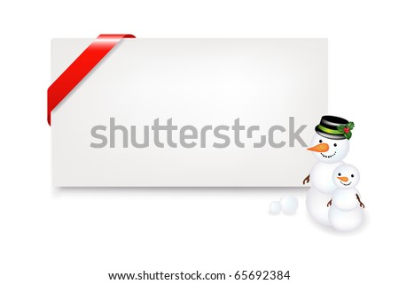 Blank Gift Tag With Snowman And Ribbon, Isolated On White Background, Vector Illustration