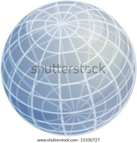 Blank glossy sphere with 3d grid pattern