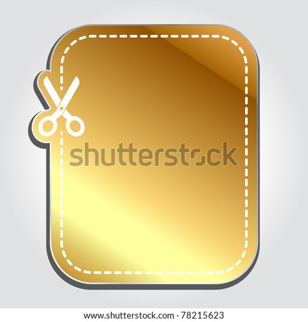 Blank gold advertising coupon cut from sheet of paper