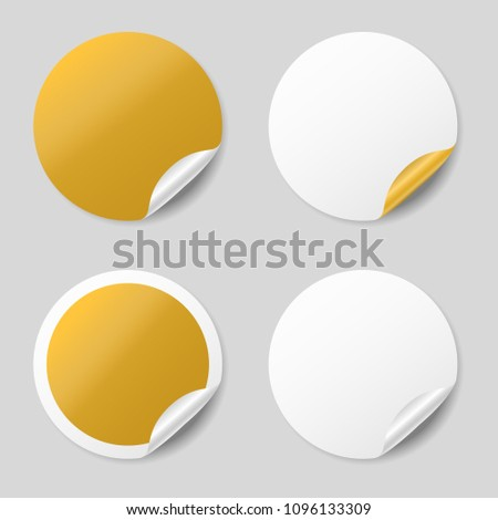 Blank gold round stickers with curled corners, realistic mockup #1096133309