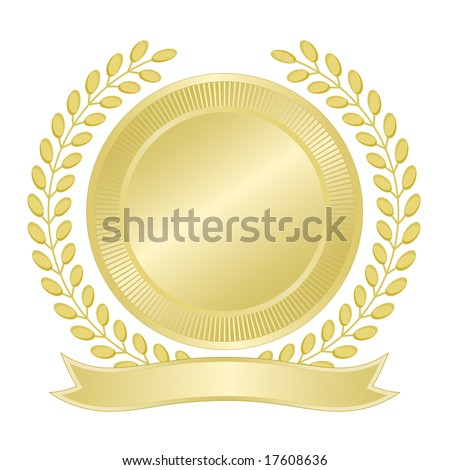 Blank gold seal with wreath of leaves and ribbon banner for award, quality assurance, anniversary, business, municipal, or commemorative use.