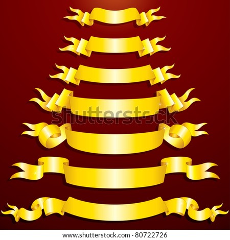 Blank Golden Ribbons, Banners, festive vector clip-art for your design