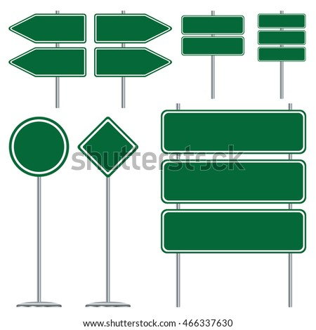 Blank green and white road sign design on white background. #466337630
