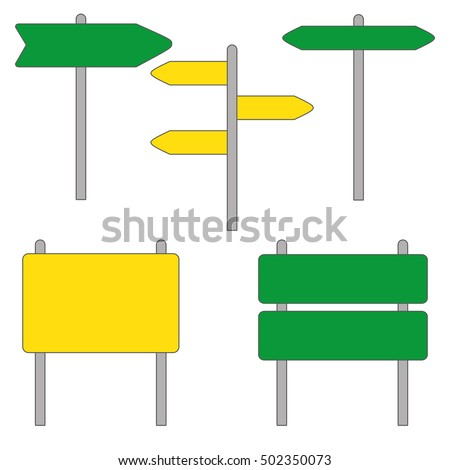 Blank green and yellow traffic road sign on white. Template for a text #502350073