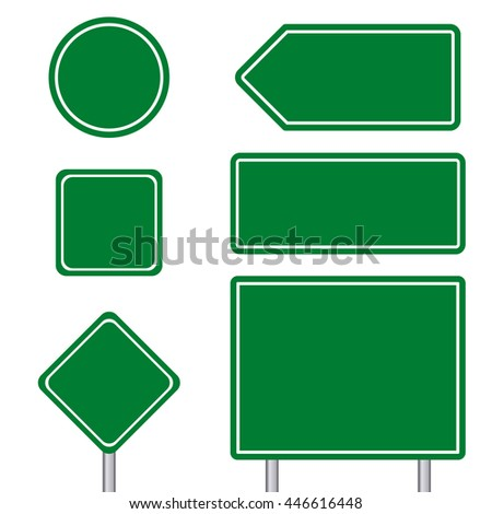 Blank green multiple size of transportation sign set with pole #446616448