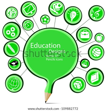Blank green pencil education designs with symbols icons.