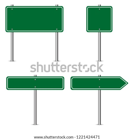 Blank green road sign. Isolated vector illustration on white background.