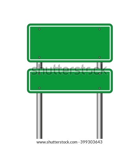 blank green road sign over white background #399303643