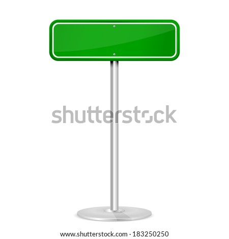 Blank green road sign with stand isolated on a white background, illustration.