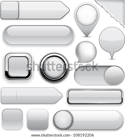 Blank grey web buttons for website or app. Vector eps10. - stock vector