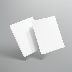 Blank Half Fold Paper Flying On Gray Background. EPS10 Vector