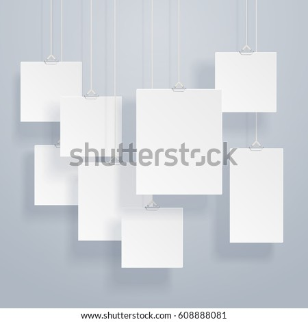 Blank hanging photo frames or poster templates with drop shadows on wall vector set. Exhibition with photography frame border, illustration of presentation hanging portfolio photography