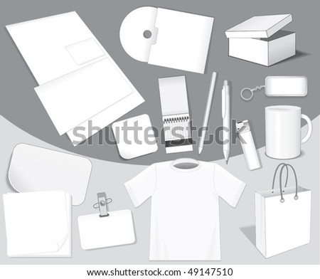 Blank isolated vector objects for your design: paper,card,bag,sticker,cd,cup,pen,layout,t-shirt etc-easy editable colors without gradients