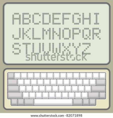 blank keyboard retro layout with pixel alphabet -  illustration
