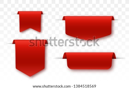 Blank labels. Offer tag. Red colored promo ribbons. Vector illustration