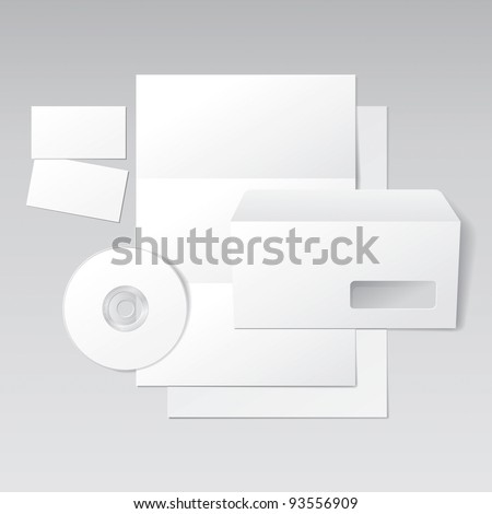 Blank Letter, Envelope, Business Cards and CD. Design Template for Corporate ID Presentation. Vector Illustration