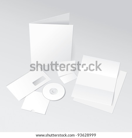 Blank Letter, Envelope, Business cards, CD and Folder. Design Template for Corporate ID Presentation. Vector Illustration