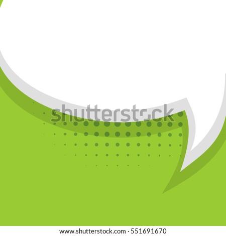Blank light green comic balloon template. Creative idea conversation sketch drawing box. Clear speech bubbles halftone dot background style pop art. Comic text talk dialog empty cloud