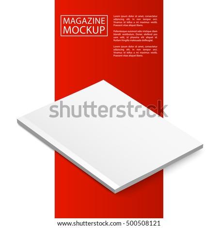 Blank magazine mockup template. Closed magazine mockup. Red Line series mockup. Realistic mockup vector EPS10 illustration.