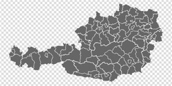 Blank map Austria in gray. High detailed vector map of Austria with provinces  and on transparent background for your web site design, logo, app, UI.  EPS 10.