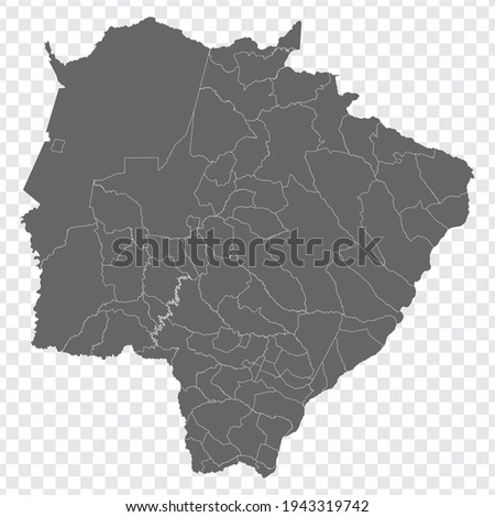Blank map Mato Grosso do Sul of Brazil. High quality map Mato Grosso do Sul with municipalities on transparent background for your web site design, logo, app, UI.  Brazil.  EPS10.   Foto stock ©