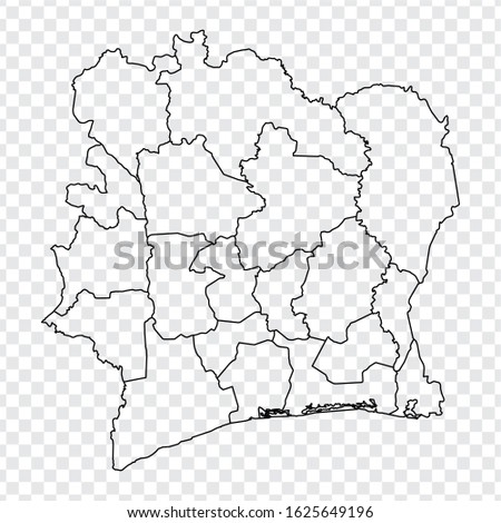 Blank map of Cote d'ivoire. High quality map Republic of Cote d'ivoire  with provinces on transparent background for your web site design, logo, app, UI.  Africa. EPS10. Photo stock ©