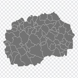 Blank map of  North Macedonia. Departments and regions of North Macedonia map. High detailed gray vector map of North Macedonia on transparent background for your design. EPS10.