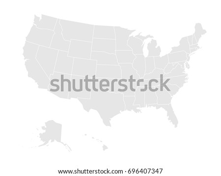 Blank map of United states of America. Vector illustration in grey on white background.