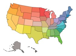 Blank map of USA, United States of America, in colors of rainbow spectrum.