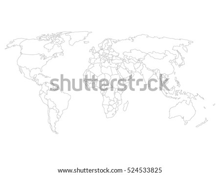 Blank map of World with thin black smooth country borders on white background. Simplified flat vector illustation. #524533825