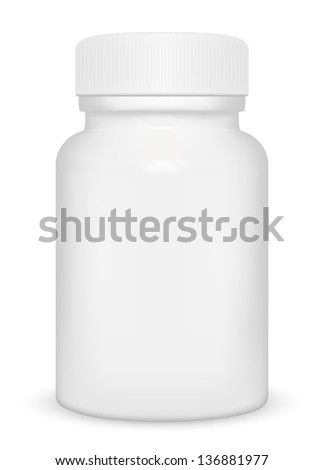 Blank medicine bottle isolated on white background, illustration.