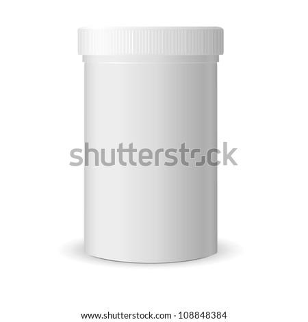 Blank medicine bottle vector illustration. Package of drugs