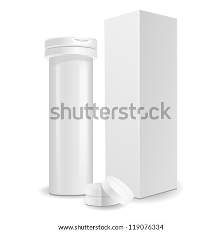 Blank medicine bottle with pills vector illustration. Package of drugs with package, box