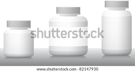 Blank medicine bottles realistic vector illustration
