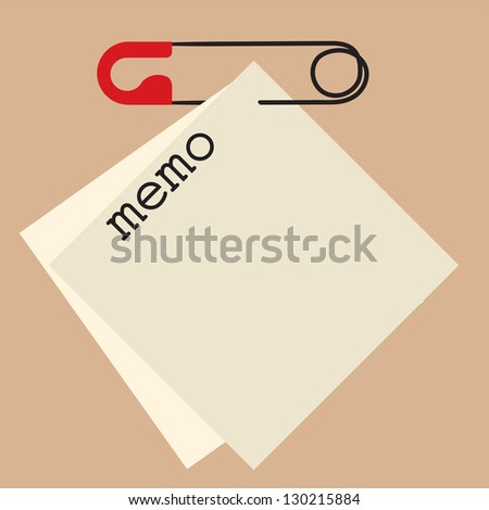 blank memo and safety pin - stock vector