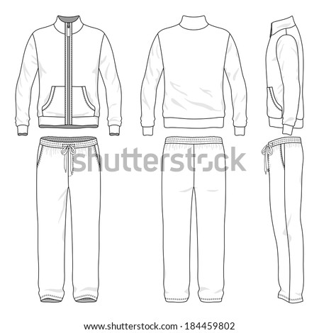 Blank men's track suit in front, back and side views. Vector illustration. Isolated on white. Stock photo ©
