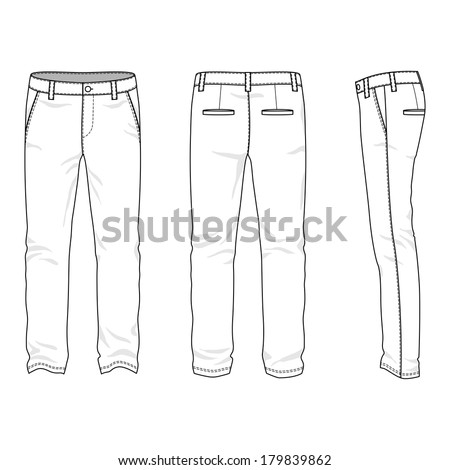 Blank men's trousers in front back and side views Vector illustration Isolated on white