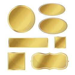 Blank metallic icon set gold color with white border signage template on white background illustration vector isolated
