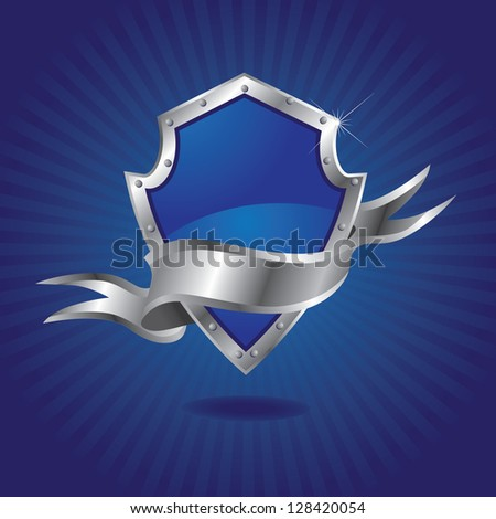 Blank Metallic Shield EPS 8 vector, no open shapes or paths. Grouped for easy editing.