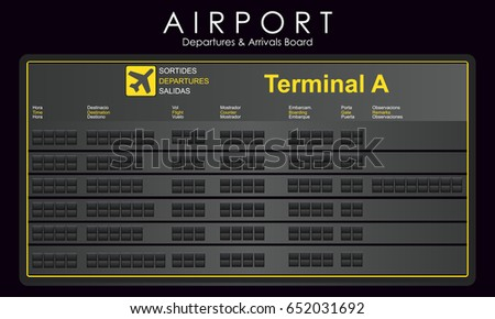 Blank mockup scoreboard airport. Departures and arrivals board. Vector illustration