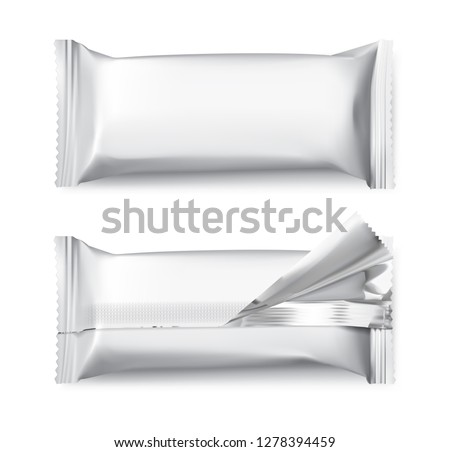 Blank mockups of flow packages. Vector illustration isolated on white background. Front and rear view. It can be used in the adv, promo, package, etc. EPS10.
