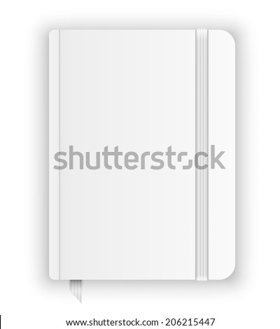 Blank moleskin template with elastic band and bookmark. Vector image