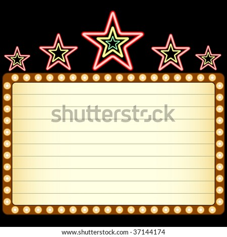 Blank movie, theater or casino marquee with neon stars above isolated on black background.