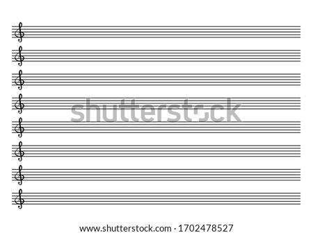 Blank music sheet score with keys. Real size for print. Horizontal music books. Five-line staff with treble clef. Western musical notation. Vector Illustration on isolated white background.  Photo stock ©