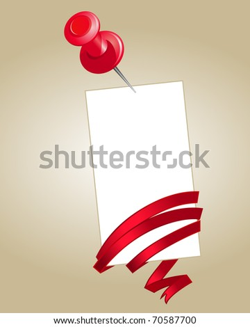 Blank note paper with pin and red silk ribbon