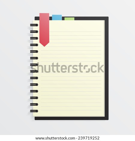 blank notebook with color