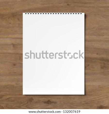 Blank Notebook With Wooden Background With Gradient Mesh, Vector Illustration
