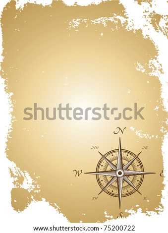 Blank old paper map with compass. Vector illustration - stock vector
