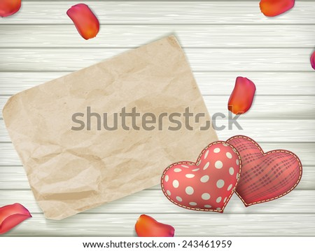 Blank old piece of paper and vintage handmaded valentines day toy hearts over wooden background. EPS 10 vector file included #243461959