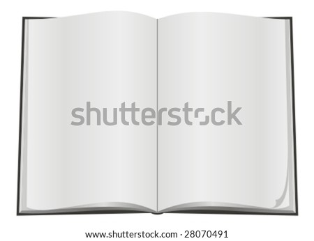 Blank open book with white page